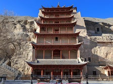 Nine-story temple facade outside Cave 96, Mogao Caves