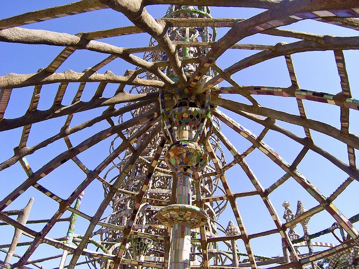 Inside the gazebo at Watts Towers
