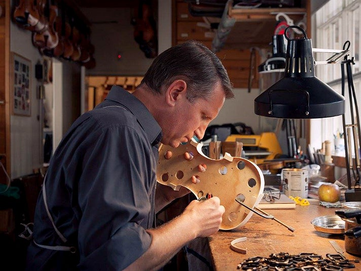 Eric Benning making a new violin at Benning Violins