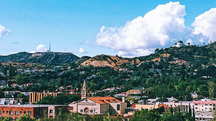 Hollywood Sign and Griffith Observatory viewed from Barnsdall Art Park