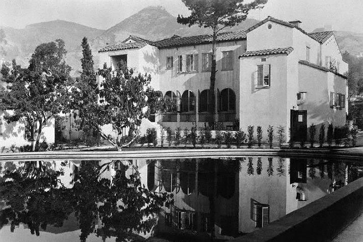 Main House and swimming pool at the Garden of Allah, circa 1940s