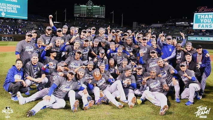 The Dodgers celebrate their 22nd National League Pennant